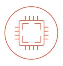 Cpu line icon vector