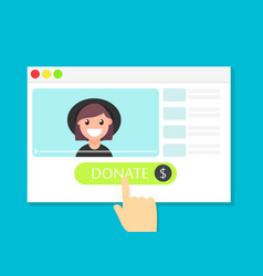 donate button money for videobloggers vector image