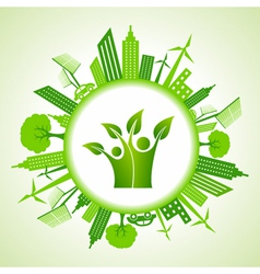 Eco cityscape with green icon vector image vector image