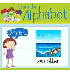 Flashcard letter s is for sea otter vector