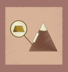 Flat shading style icon tent tourists snow vector