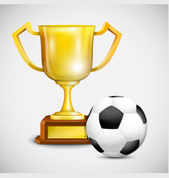 Gold cup with soccer ball vector