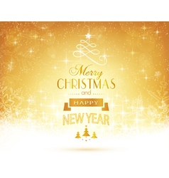 Golden Christmas card typography vector image