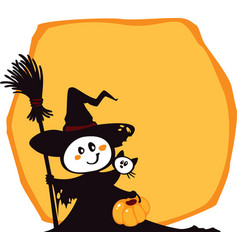 halloween witch and cat on an yellow background vector image
