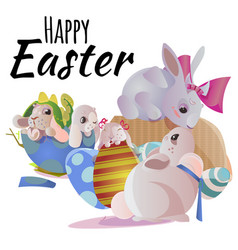 Happy and cute easter bunny sitting in basket with vector