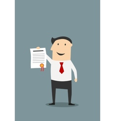 Happy businessman shows diploma or certificate vector image