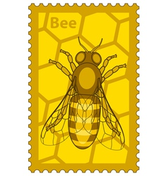 Honeybee stamp vector