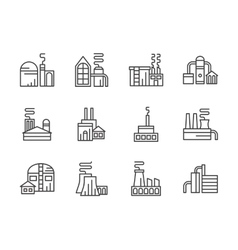 Industrial facilities black line icons set vector