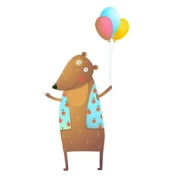 Kids Teddy Bear with Balloons Colorful Cartoon vector image