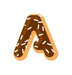 Letter a donut font doughnut alphabet sweet vector