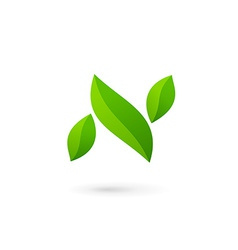 Letter N eco leaves logo icon design template vector image