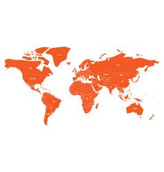 politial map of world simple flat orange vector image