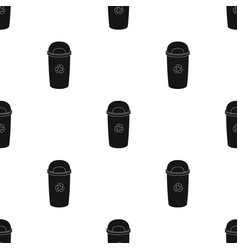 Recycle garbage can icon in black style isolated vector