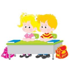 School children at a desk vector