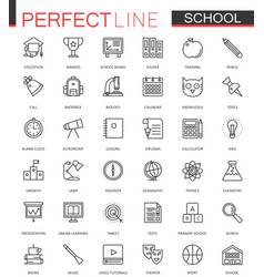 school education thin line web icons set outline vector image