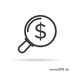 Search money outline icon black color vector