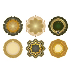 Set of gold-framed labels vector image vector image