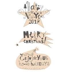 set of holidays signs with background vector image