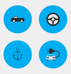 Set of simple transportation icons elements charge vector