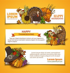 Set of thanksgiving horizontal banners vector