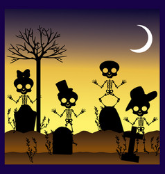 silhouettes of skulls in graveyard vector image