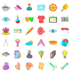 sketching icons set cartoon style vector image vector image