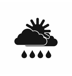 Sun behind the cloud icon black simple style vector image