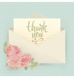 Thank you Vintage envelope with roses vector image vector image