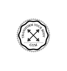 Training gym fitness logo vintage style vector