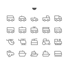 Transport side view outlined pixel perfect well vector
