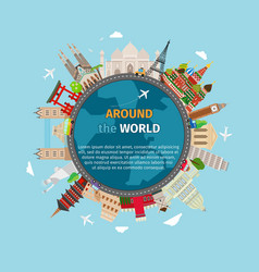 Travel around the world postcard vector image