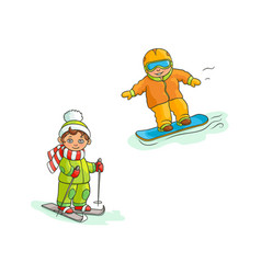 Two boys skiing and snowboarding winter sport vector