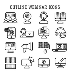 Webinar outline icons vector