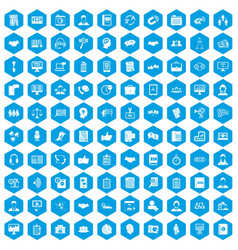100 discussion icons set blue vector