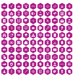 100 security icons hexagon violet vector