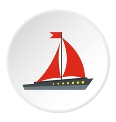 Sailing ship icon flat style vector