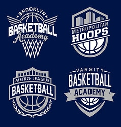 Basketball sport emblem set vector