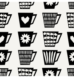 Seamless Coffee Cups Pattern vector image