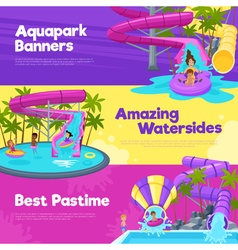 Aquapark horizontal banners vector