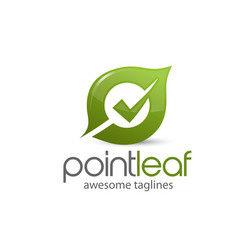 Natural green leaf with check mark on center logo vector
