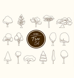 Tree set outline in hand drawn style vector