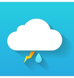 Day cloud lightning and rain drop isolated on blue vector image