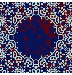 Stylized islamic ornamental frame over deep blue vector