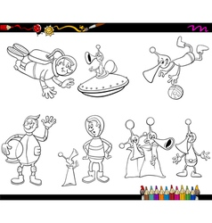 Aliens and spaceman coloring book vector