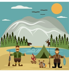 Flat design with fisherman and hunter vector