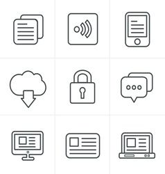 Line icons style website icons set design vector
