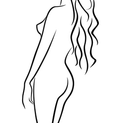 Beautiful abstract female body half turn back vector