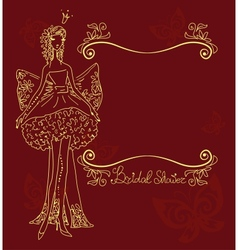 Bridal shower hand drawing card vector