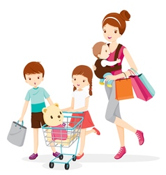 Mother and children shopping together vector
