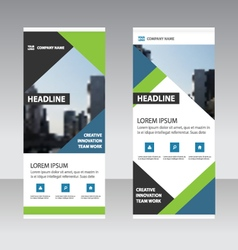 Green blue triangle business roll up banner flat vector